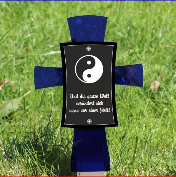 Grabkreuz mit Spruch 12x17cm blau