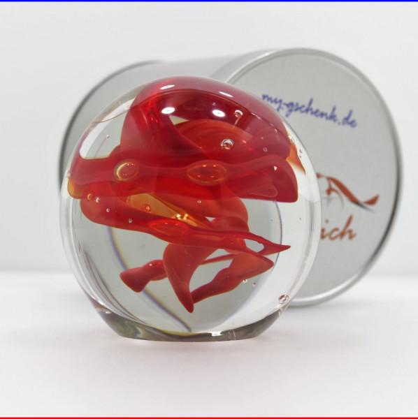 "Traumkugel Ø 9cm ""Roter Wirbelsturm"" Briefbeschwerer in Geschenkdose"