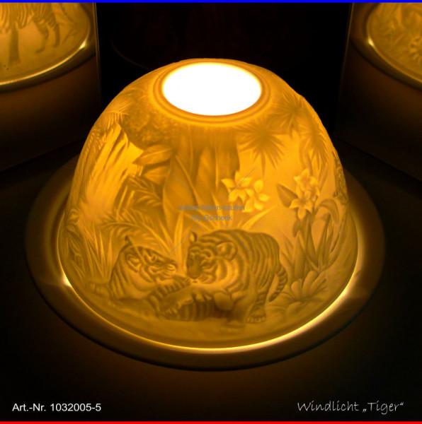 Windlicht Teelicht Tiger