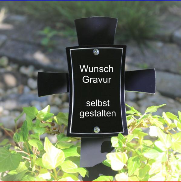 Modernes Grabkreuz mit Bild schwarz
