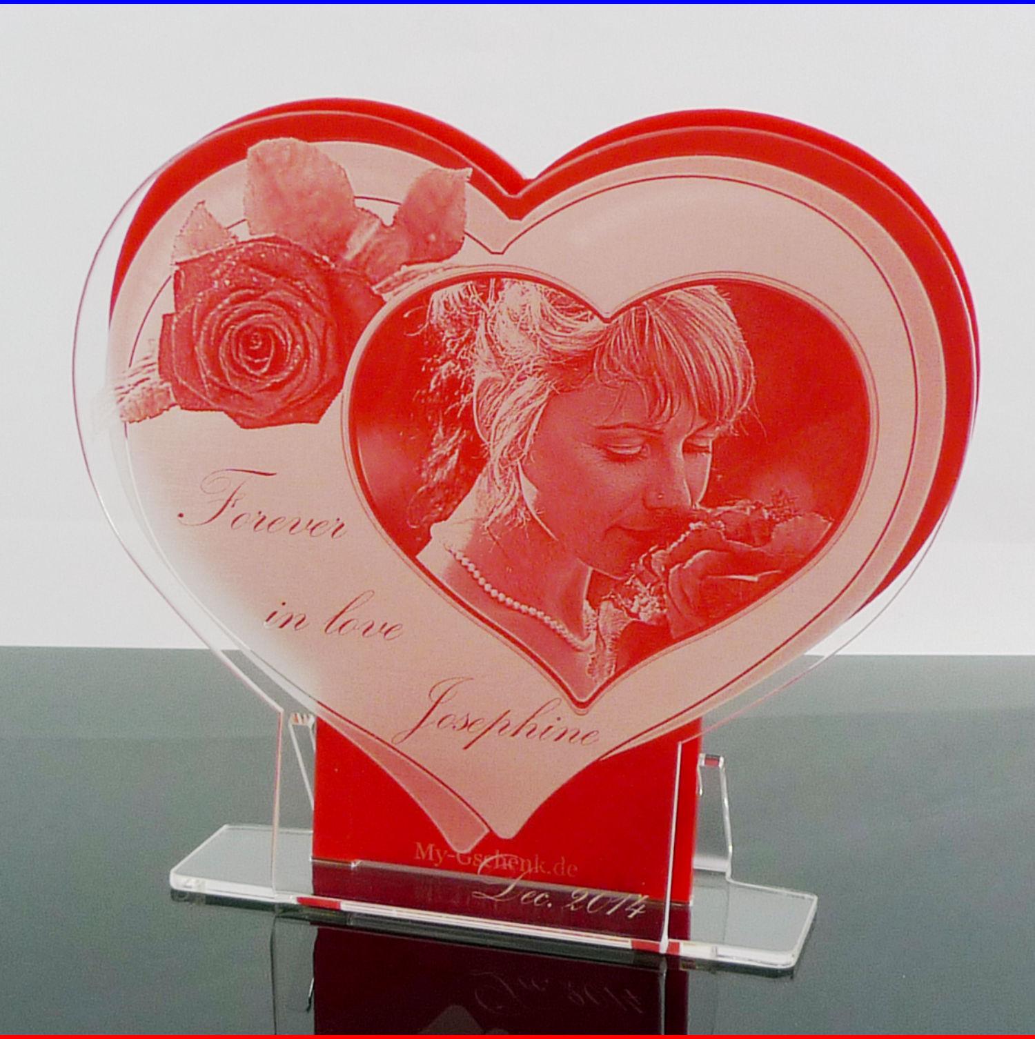 fotoaufsteller herz geschenkidee rose mit gravur  jetzt