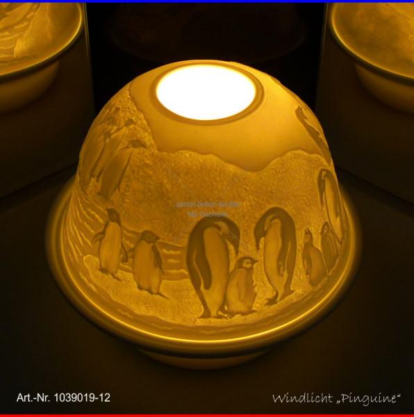 Windlicht Teelicht Pinguin