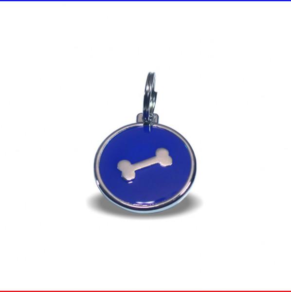 Tieranhänger blau mit Knochen Hundemarke