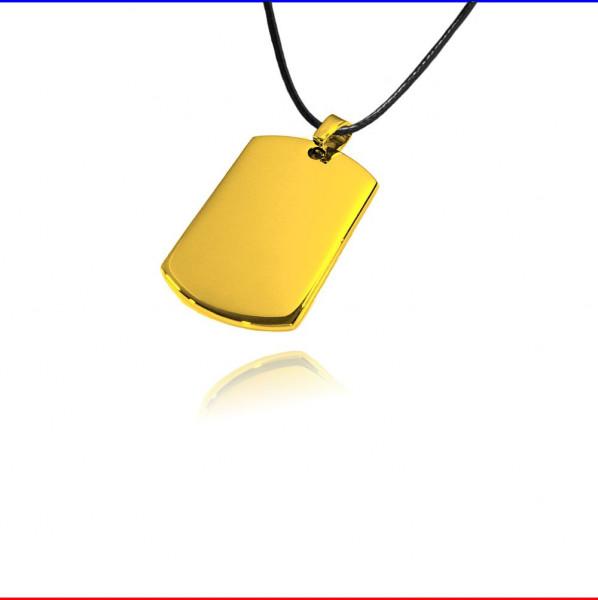Schmuckanhänger Rechteck ID klein Edelstahl gold