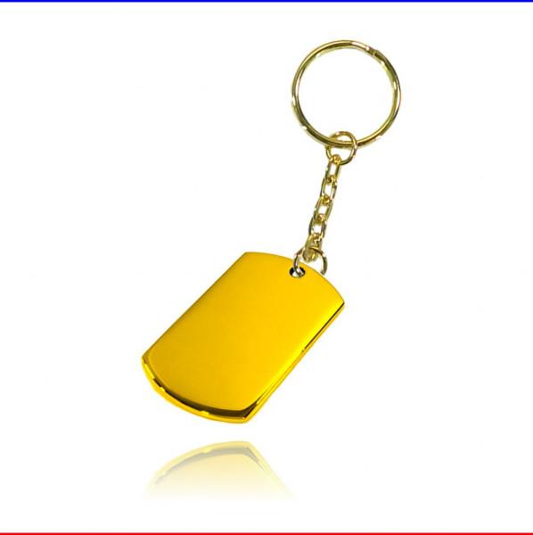 Schlüsselanhänger Rechteck ID klein Edelstahl gold