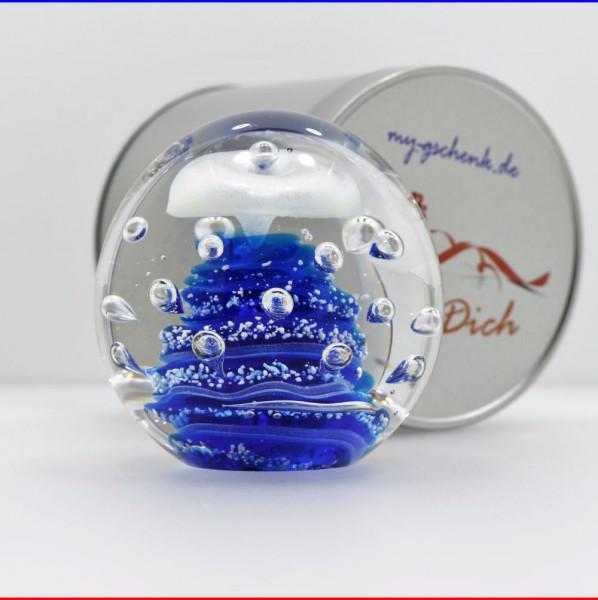 """Traumkugel Ø 9cm """"Blaue Explosion"""" Briefbeschwerer in Geschenkdose"""