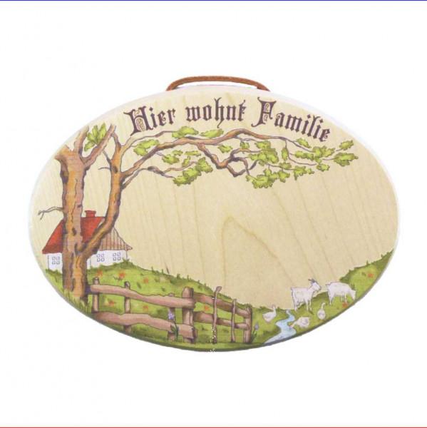 """Holz Türschild """"Hier wohnt Familie"""" 20x15cm mit Buntdruck"""