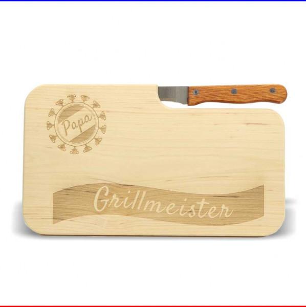"""Brotzeitbrett """"Grillmeister Papa"""" mit Messer"""