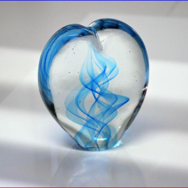 Herzskulptur Glas blau 8cm