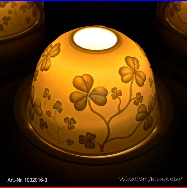 Windlicht Teelicht Blume/Klee