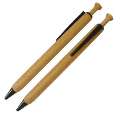Kugelschreiber Holz Buche schwarze Elemente