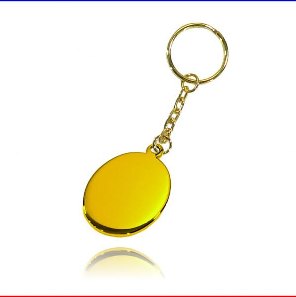 Schlüsselanhänger Oval Edelstahl gold