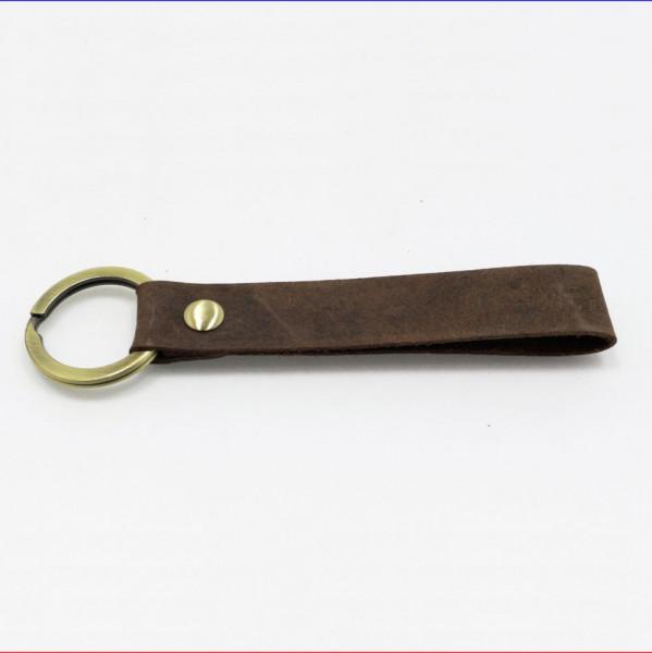 Schlüsselanhänger Leder Vintage dunkelbraun