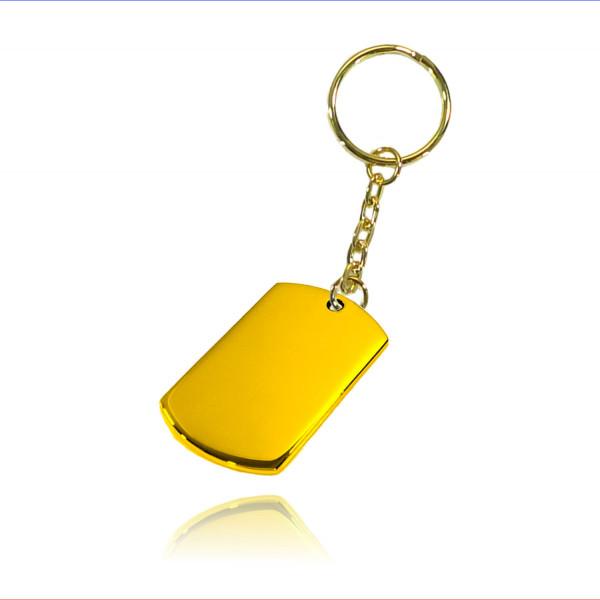 Schlüsselanhänger ID Rechteck Edelstahl gold