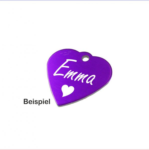 Tiermarke Hundemarke Herz violett