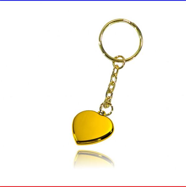 Schlüsselanhänger Herz Edelstahl gold