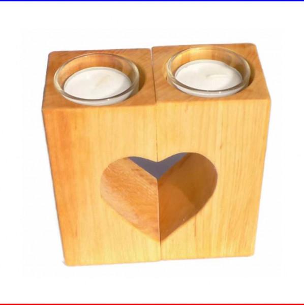 Teelichthalter aus Erle 2-teilig mit Herz-Auschnitt