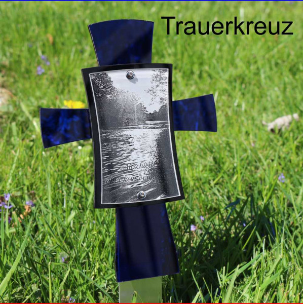 Grabkreuz mit Bild 12x17cm