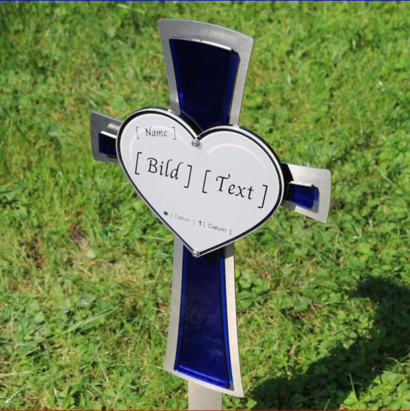 Edelstahl Kreuz mit Herz