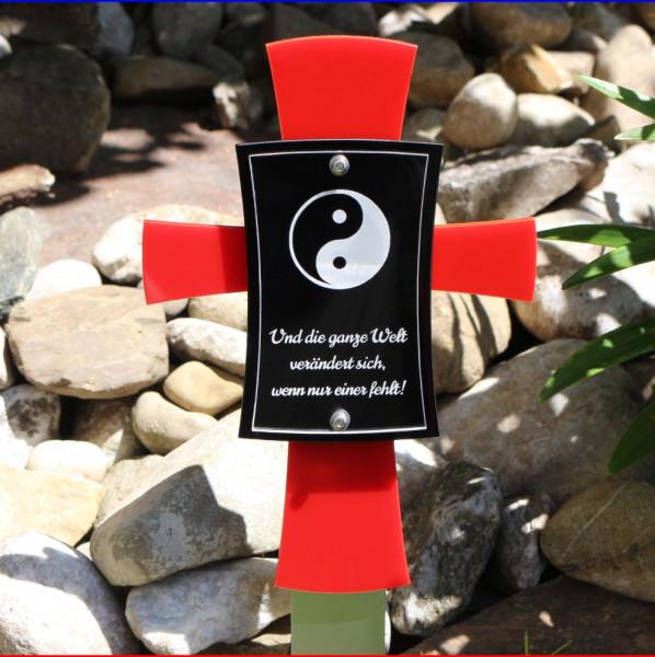 Grabkreuz rot mit Spruch