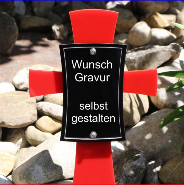 Grabkreuz mit Bild 12x17cm rot