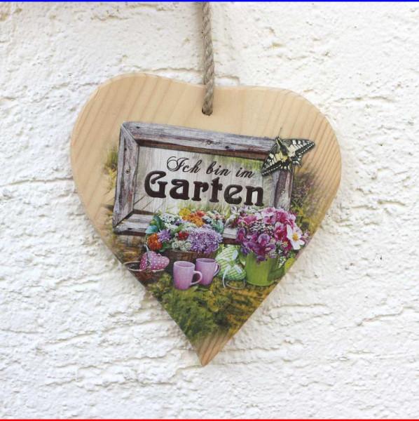 """Herz Schild """"Bin im Garten"""""""