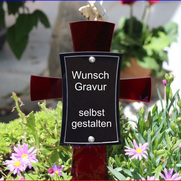 Grabkreuz mit Bild rubin farben