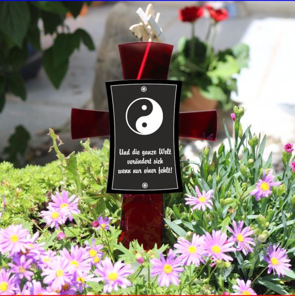 Grabkreuz mit Spruch 12x17cm rubin