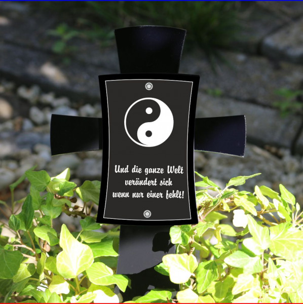Grabkreuz mit Spruch 12x17cm schwarz