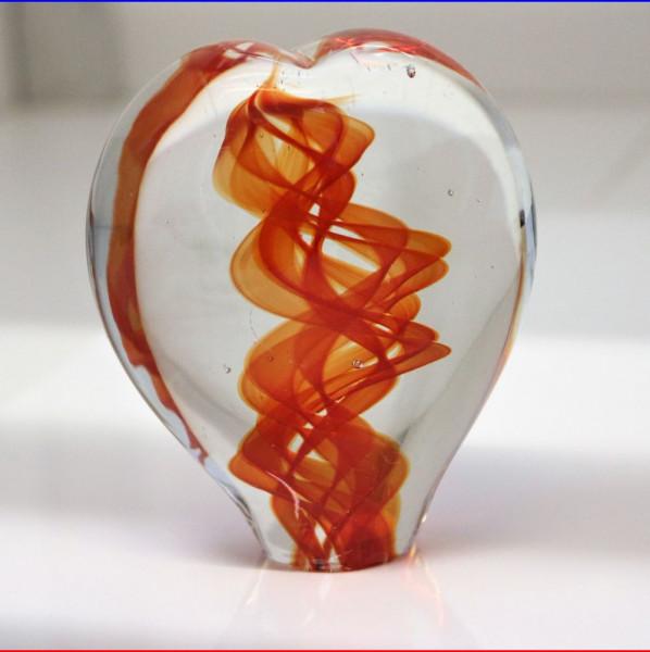 Herzskulptur Glas rot 10cm