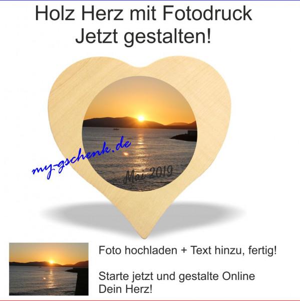 Holzherz Ahorn Fotodruck 16x16cm