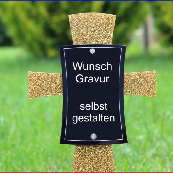 Grabkreuz mit Bild 12x17cm golden