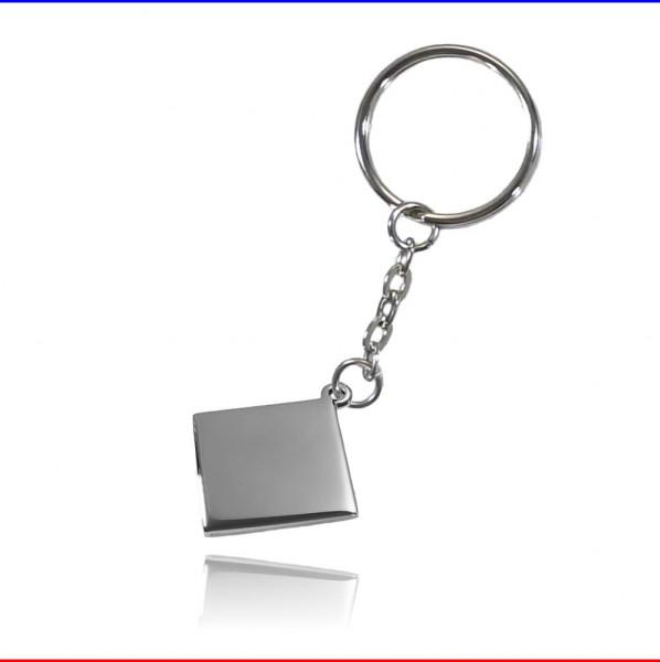 Schlüsselanhänger Karo Edelstahl silber