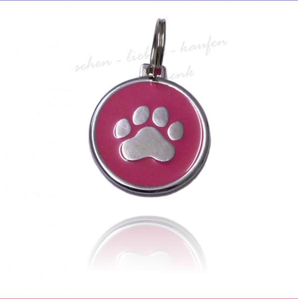 Tieranhänger mit rosa Pfote Hundemarke