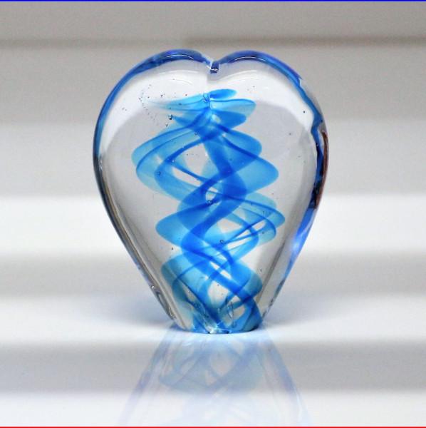 Herzskulptur Glas blau 10cm