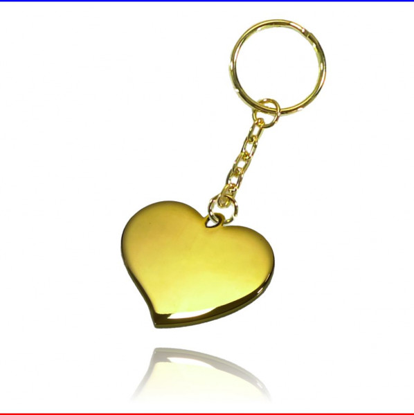 Schlüsselanhänger geschwungenes Herz Edelstahl gold