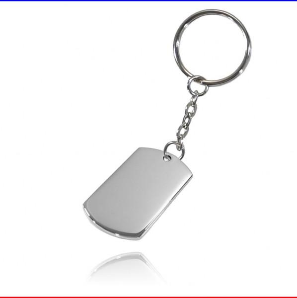 Schlüsselanhänger ID Rechteck Edelstahl silber