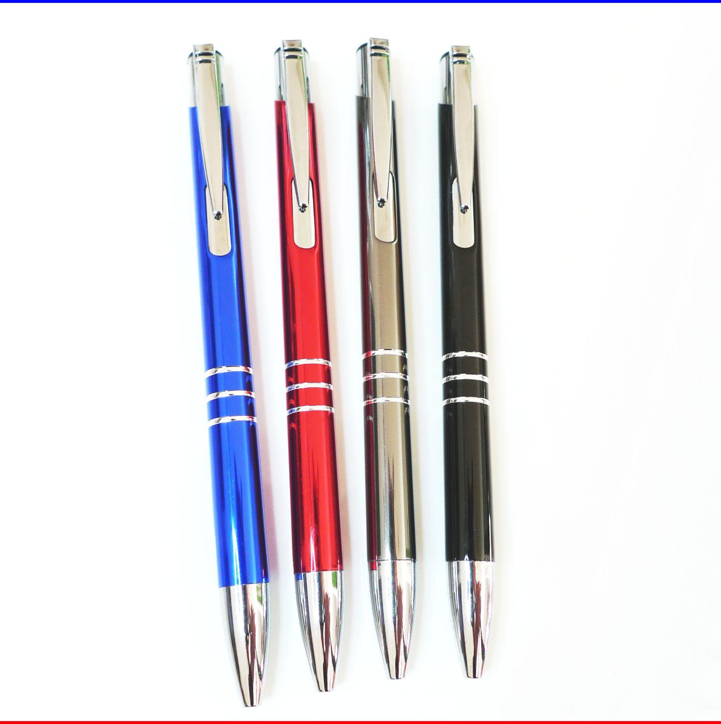 Farbe 20 Kugelschreiber aus Metall schwarz mit Gravur