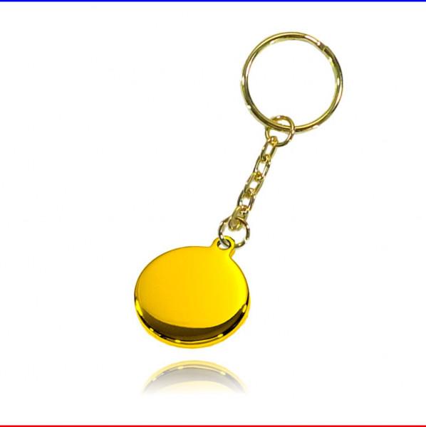 Schlüsselanhänger Ronde 27mm Edelstahl vergoldet