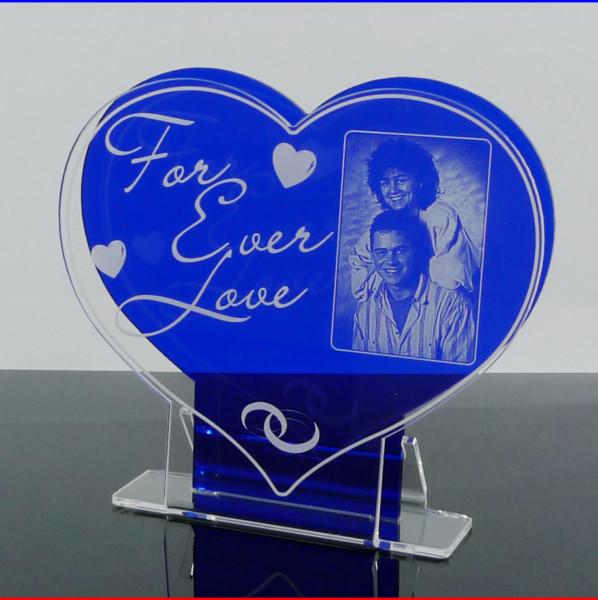 """Fotoaufsteller Herz """"For Ever Love"""" mit Gravur"""