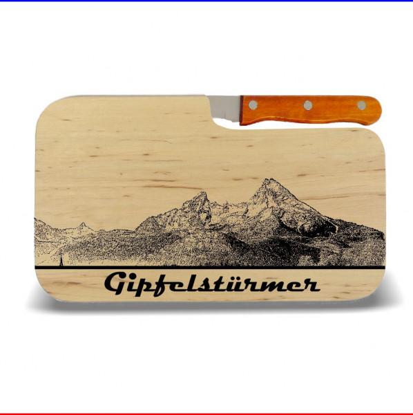 """Brotzeitbrett """"Gipfelstürmer"""" 26x15cm mit Messer"""