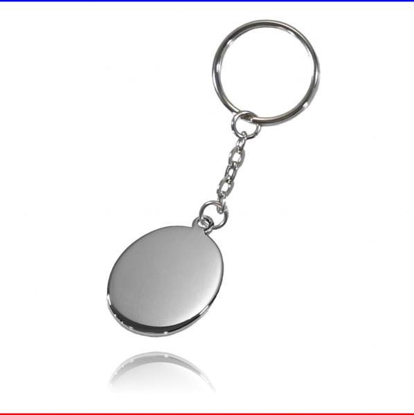 Schlüsselanhänger Oval Edelstahl hochglanzpoliert