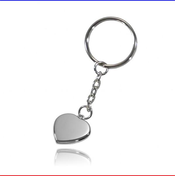 Schlüsselanhänger Herz Edelstahl silber