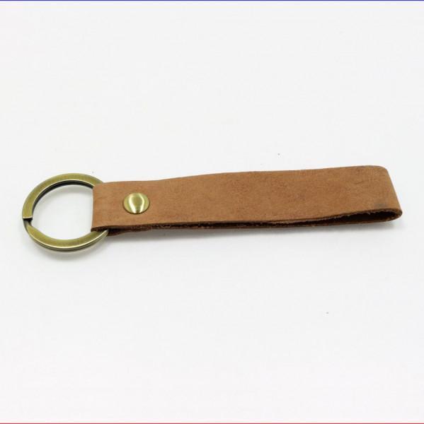 Schlüsselanhänger Leder Vintage hellbraun